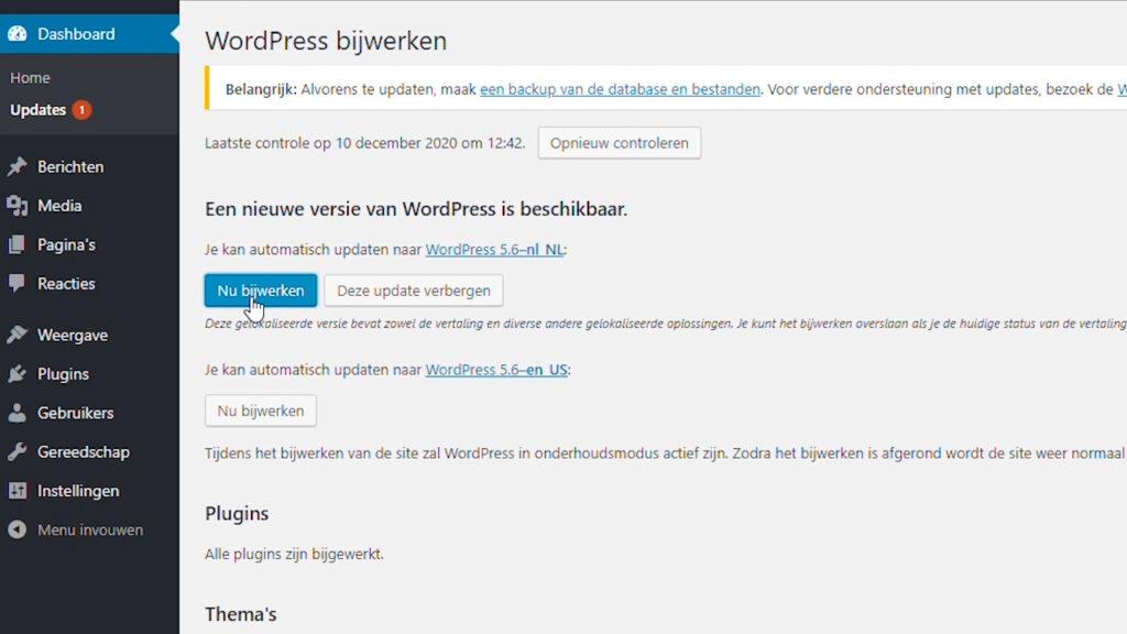Wordpress core updaten