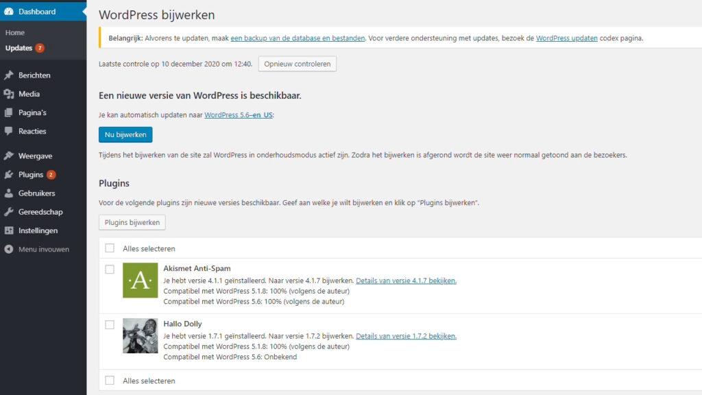 Voer updates uit in WordPress